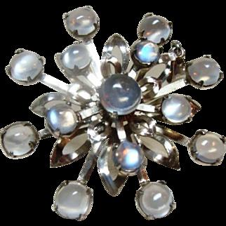 Large Vintage Moonstone Snowflake Pendant