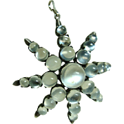 Antique Moonstone Star Pendant Brooch