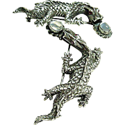 Pair of Vintage Sterling 925 Dragon Moonstones and Ruby Brooches