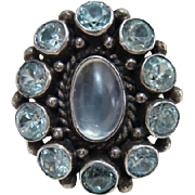 Arts and Crafts Moonstone and Topaz Ring