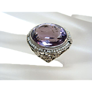Large 10kt White Gold Amethyst Ring
