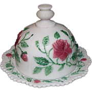 Imperial Open Rose Painted Milk Glass Butter Dish 1950s