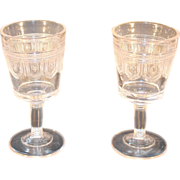 EAPG Beaded Band Cordial or Small Wine Pair c. 1884