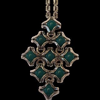 Bold Finnish Silver Modernist Green Onyx Pendant