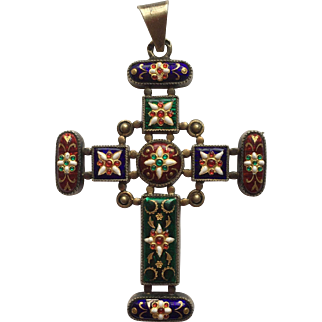 Antique French Bresse Enamel Victorian Cross Pendant