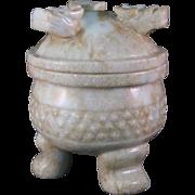 Foo Dog Lion Footed Pot Incense Burner Censer Soapstone carved 3 Feet and Heads
