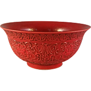 Rare Red Glaze Lotus Relief bowl of Qing Dynasty, Qianlong Emperor (1736-1795) China