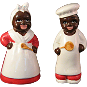 Vintage Black Americana Cooks Salt & Pepper Shaker set with Japan Tag