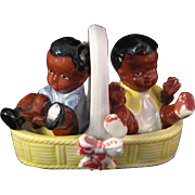 Vintage Porcelain Black Americana Boy and Girl sitting in Basket Salt & Pepper Shaker Set - Japan