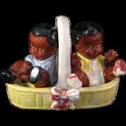 Vintage Porcelain Black Americana Boy and Girl sitting in Basket Salt & Pepper Shaker Set - Japan