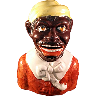 Unusual Black Americana Figure Head with cut out mouth marked XXX