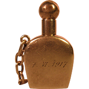 Silver Snuff Perfume Bottle with Ball stopper and chain- Engraved 7-VI-1917 and signed LM