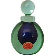 Vintage Cobalt Blue and Green Murano Perfume Bottle by Archimede Seguso with Paper Label