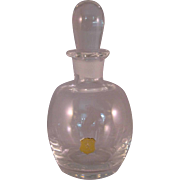 Vintage Afors of Sweden Crystal Clear Glass Bulbous Perfume Bottle with Gold Tag