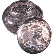 "Art Nouveau ""Love me, Love me not"" Large Powder Dresser Jar Repousse Sterling Silver EAPG Glass"