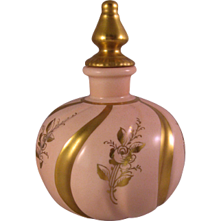 Vintage Orlik Perfume Porcelain Bottle with hand painted Gold Roses and Swirl Bands on Peach