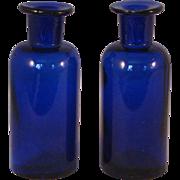 Cobalt Blue Medicine Bottle set of 2 - T. Metcalf & Co. Boston, Mass circa 1900