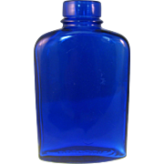 "Bourjois Cobalt Blue glass Bottle 4 ¾""  Embossed - 1930-1940's"