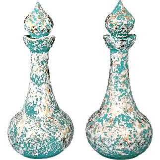 Turquoise Gold Splatter Pair of Jeannie Genie Bottles California Pottery 1960's