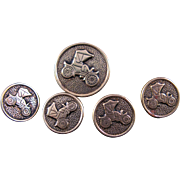 Runabout Brass Button set for Vest - 5 Antique Buttons Automobile Car