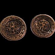 """Victorian Brass Cupid Cherub Button A Bakers Dozen 13 - 19th Century - 5/8"""" -"""