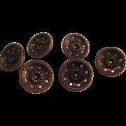 "6 Victorian Flower Brass Button with cut through dot border - 19th Century - 5/8"""