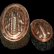 2 Vintage Copper Deep Pudding Molds - Corn Cob Tops