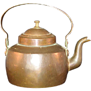 Vintage Old English Small Gooseneck Copper and Brass dovetail Teapot with Tin lined interior