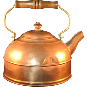 Vintage Paul Revere Copper and Brass Teapot with wooden handle marked - Rome, NY USA - 79