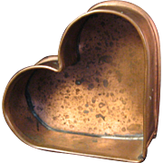 "Michael Bonne 1991 Copper Heart Mold with Wall Hook - Signed and inscribed ""Your hearts desire"""