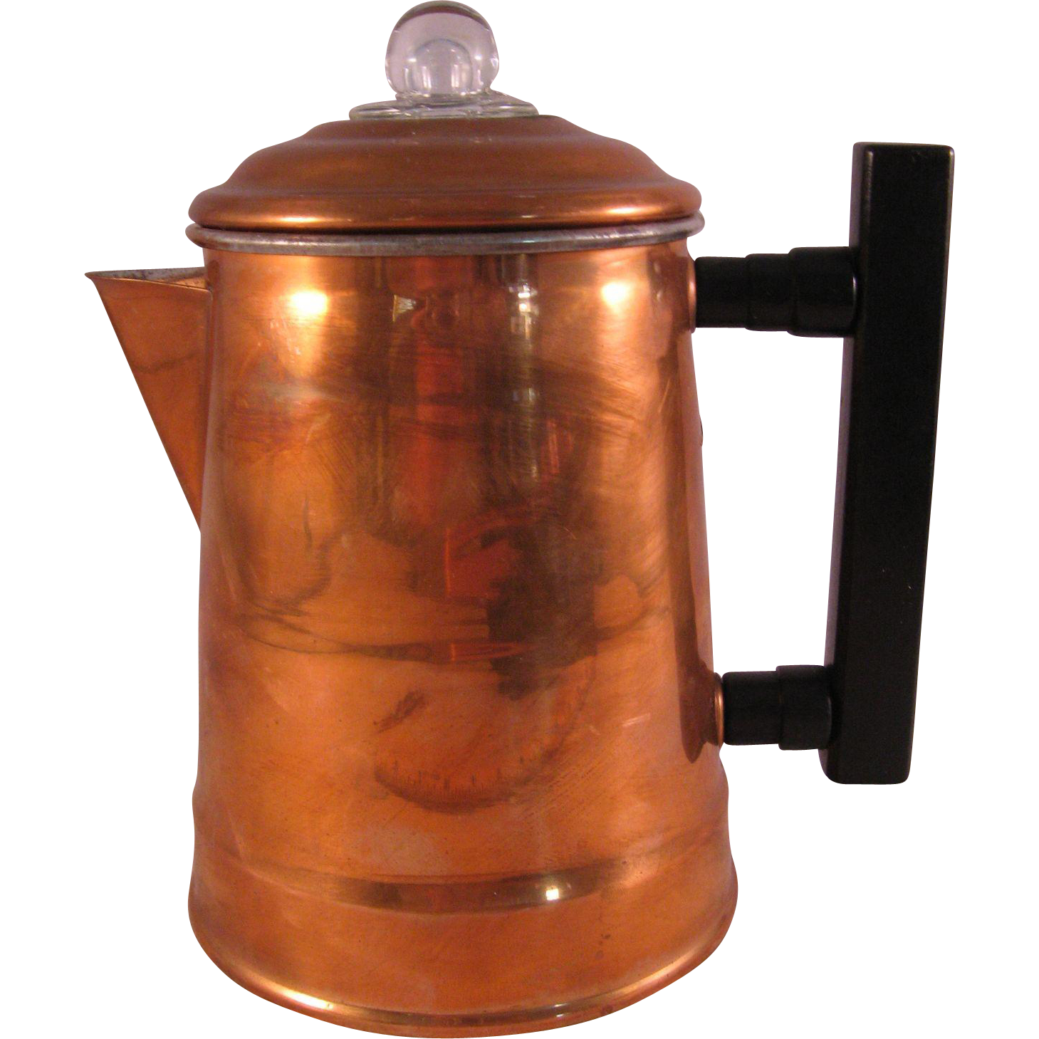 Vintage Camping Copper Coffee Pot Small 4 Cups Stovetop