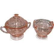 1930's Sharon Cabbage Rose Footed Cream & Sugar Set Pink Depression Glass