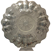 Rare Frosted Sterling Overlay Serving Dish commemorating the Third Panel of the Sheriff's Jury of New York - Satin glass Floral