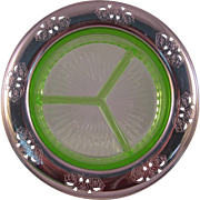 Vintage Farberware Shamrock Green Depression Glass from 1930 divided dish