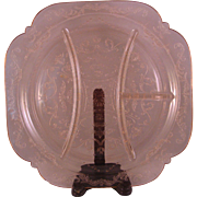 """Pink Madrid Divided Grill Plate 10.25"""" by Federal Glass Co - 1930's"""