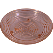 Pink Ribbed 3 footed Depression Era Glass candy Dish