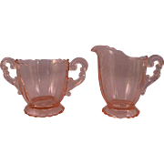 Elegant and Fancy Pink Cambridge Glass Cream and Sugar Bowl in the 3400 Pattern Unetched made 1930-1950