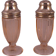 Pink Paneled Depression Glass Hazel Atlas Salt & Pepper Shaker Set