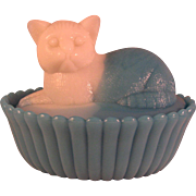 Milk and Blue Slag Glass Cat Covered Dish by Westmoreland early 1900's