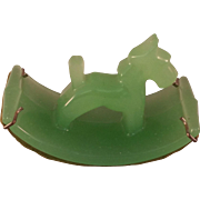 Ink Blotter Green Glass Rocking Scottie dog with original clips and blotting paper 1930-1950's
