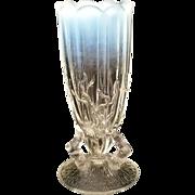 Northwood White Opalescent Twig Mini flared top bud Vase c1898