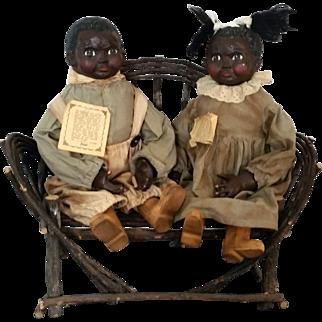 "Folk Art Black Americana 20"" Doll Couple Arnett's Country Store sculpted by Carol Manning c1980"