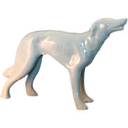 Vintage 1950's Porcelain Art Deco Style Sea Foam Green Dog Whippet w Gold Accents