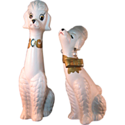 Vintage Mr and Mrs White Poodle Dog Figurines by National Potteries Co. Cleveland 1950's
