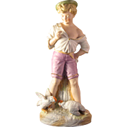 """11"""" Victorian Style Farm Boy feeding Chickens Figurine Hand painted Porcelain Bisque with Gold Accents"""