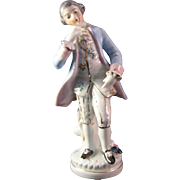 "Vintage Colonial Man 6 1/2"" Porcelain Figurine with Gilt made in Occupied Japan Black"