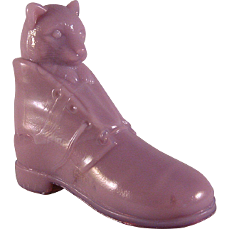 Vintage Mauve Glass Candy Container Puss in Boots Cat figurine
