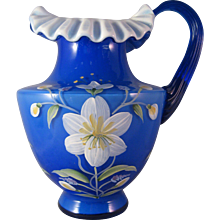 """Fenton Cobalt Blue White Overlay ruffle top Painted White Flower 7 1/4"""" Pitcher - Signed George Fenton/S Fisher"""