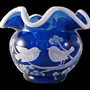 Nancy Fenton Snow Crest Cobalt Blue Hand painted Bird Squat Vase - Signed