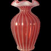 """Vintage Fenton Optic Cranberry Spiral Opalescent 7"""" Vase"""